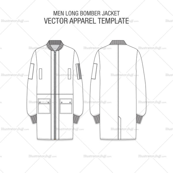 Men Long Bomber Jacket