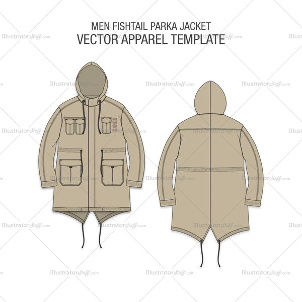 Men Fishtail Parka Jacket Fashion Flat