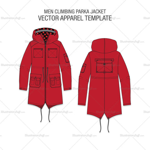Men Climbing Parka Jacket Fashion Flat
