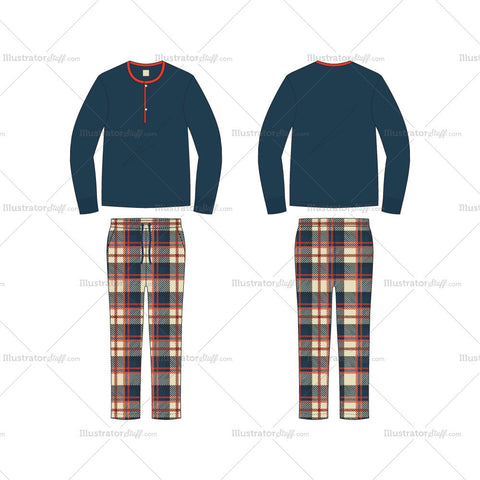 Men's Loungewear Pajama Set Fashion Flat Template