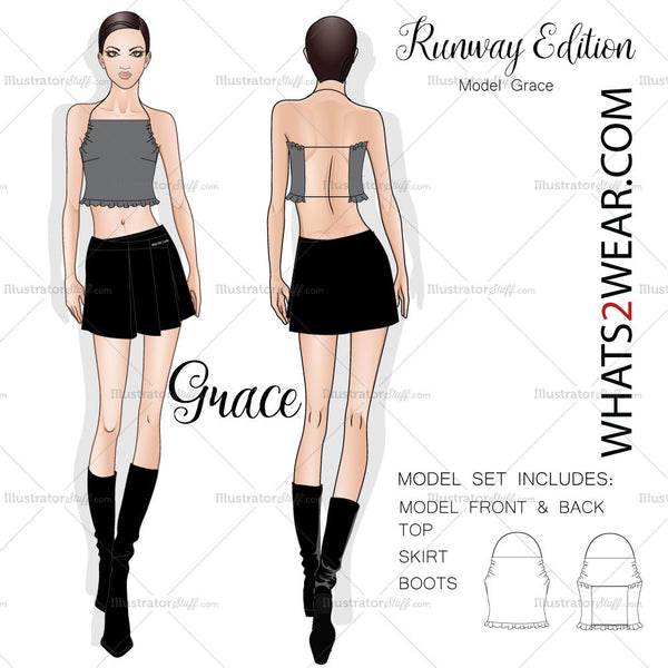 Female Fashion Runway Croquis Template