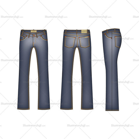 Men's Men Bootleg Denim Jeans Fashion Flat Template