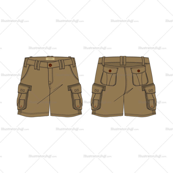 Men's Military Inspired Khaki Cargo Shorts Fashion Flat Template
