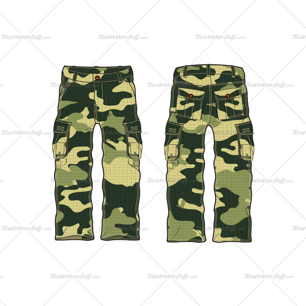 men s military inspired combat cargo pants fashion flat template