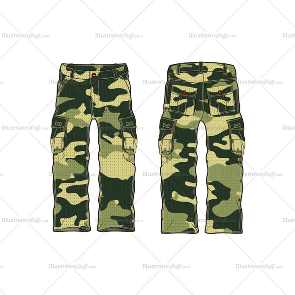 Men's Military Inspired Combat Cargo Pants Fashion Flat Template