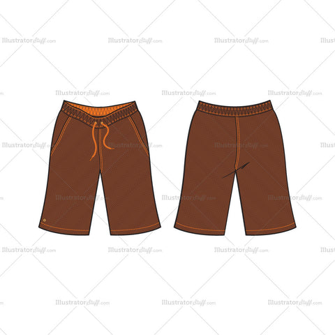 Men's Brown Bermuda Shorts Fashion Flat Template