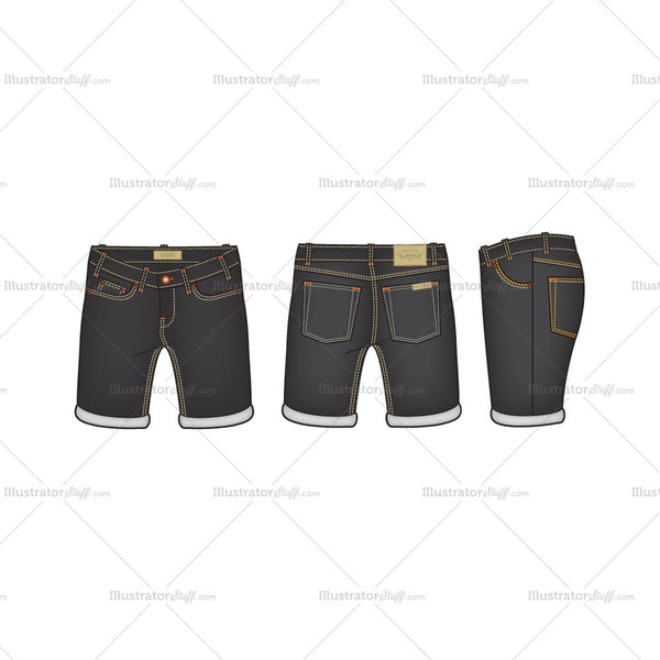 Men's Men Black Denim Shorts Fashion Flat Template