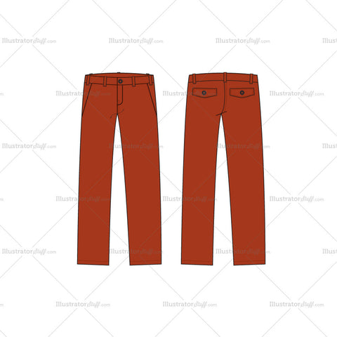 Men's Burnt Orange Straight Leg Chinos Fashion Flat Template