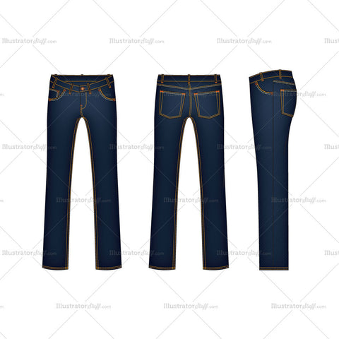 Men's Straight Leg Denim Jeans Fashion Flat Template