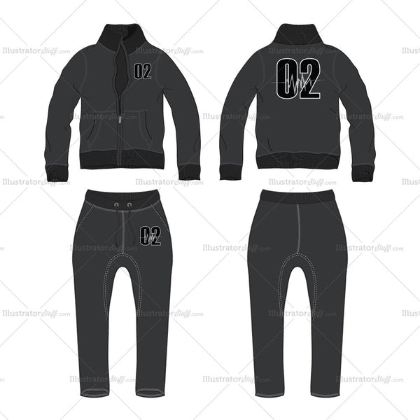 Men's Set of Track Set with Drop Crotch Track Pants Fashion Flat Template