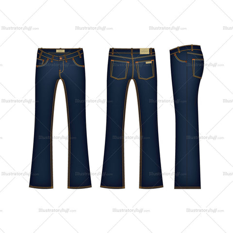 Men's Flare Leg Denim Jeans Fashion Flat Template