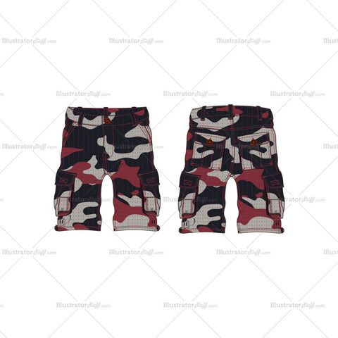 Men's Cargo Shorts with Camouflage Print Fashion Flat Template