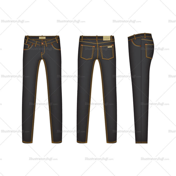Men's Slim Fit Denim Jeans Fashion Flat Template