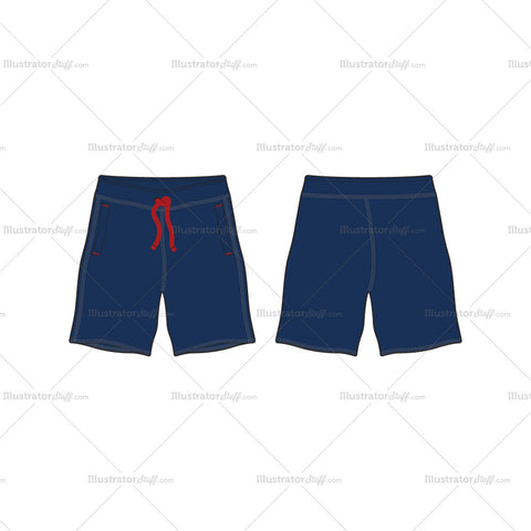 Men's Blue Sport Sweat Shorts Fashion Flat Template