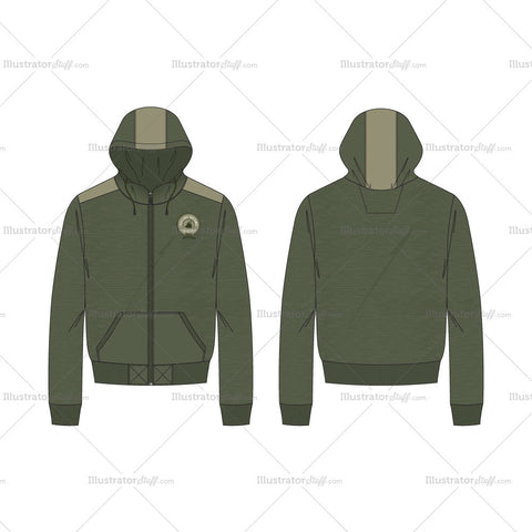Men's Short Body Olive Green Hoodie Fashion Flat Template