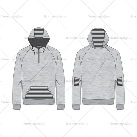 Men's Melange Gray Textured Pullover Hoodie Fashion Flat Template