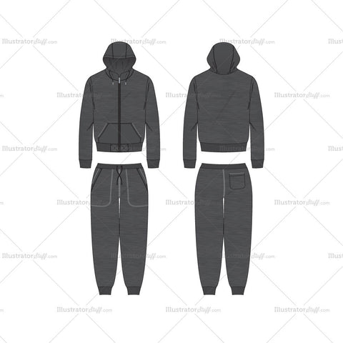 Men's Charcoal Gray Running Tracksuit Set Fashion Flat Template