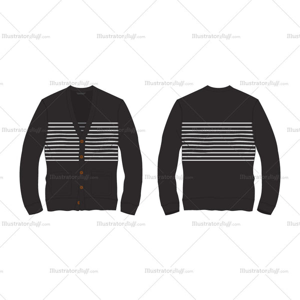 Men's Striped Front Open Cardigan Fashion Flat Template