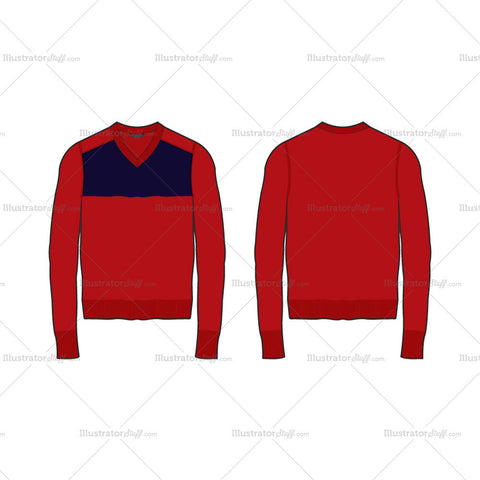 Men's Color Blocked V-neck Sweater Fashion Flat Template