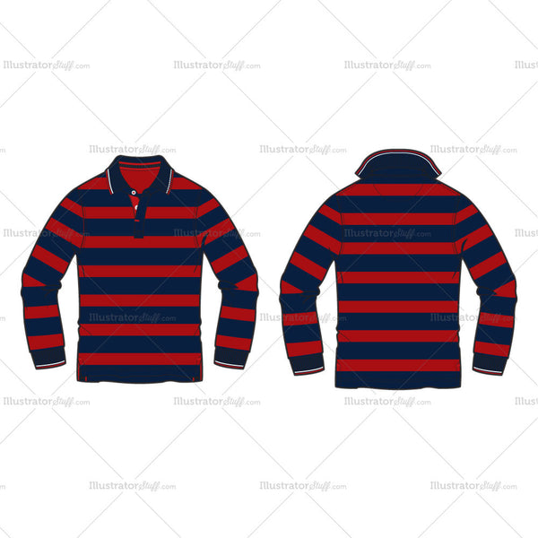 Men's Striped Polo Shirt Full Sleeved Fashion Flat Template