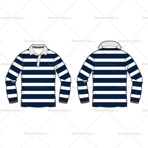 Men's Classic Rugby Shirt Fashion Flat Template