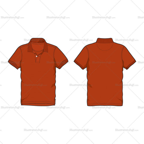 Men's Burnt Orange Classic Polo Shirt Fashion Flat Template
