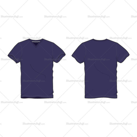 Men's Purple V Neck T-shirt Fashion Flat Template