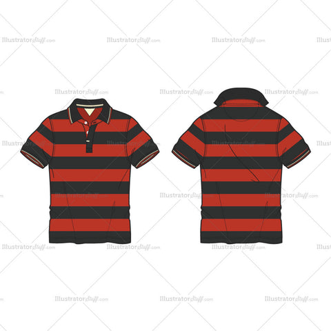Men's Sports Golf Shirt Fashion Flat Template