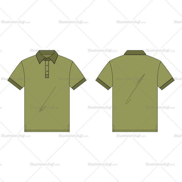 Men's Olive Green Button Up Polo Shirt Fashion Flat Template