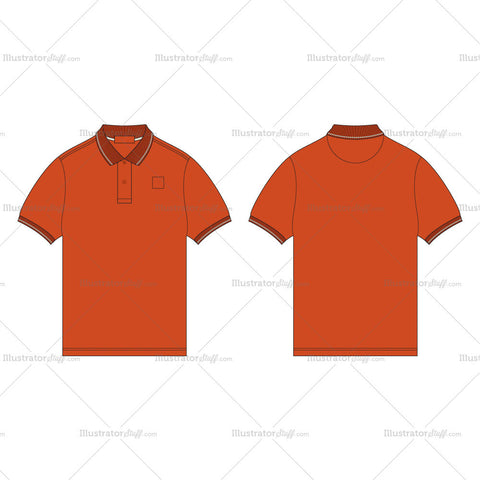 Men's Burnt Orange Polo Shirt Fashion Flat Template