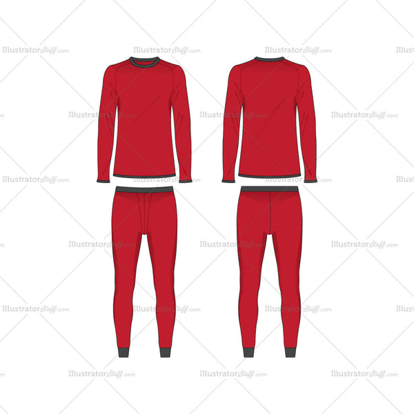 Men Training Thermal Compression Tee and Tights Fashion Flat Template