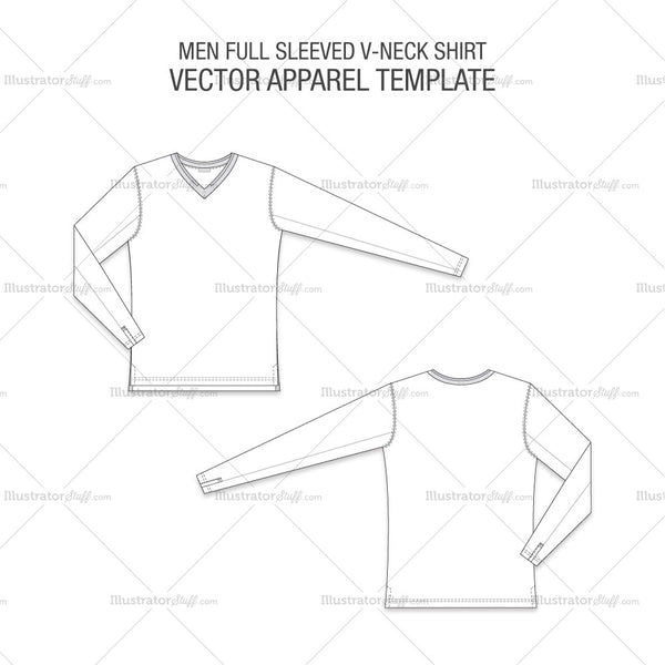 Men Full Sleeved V-neck Shirt