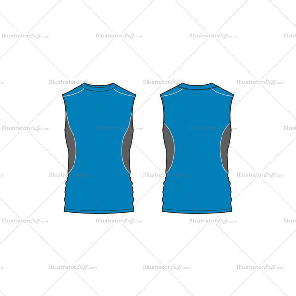 Men's Fitness Training Vest Fashion Flat Template