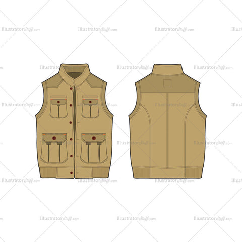 Men's Safari Hunting Vest Fashion Flat Template