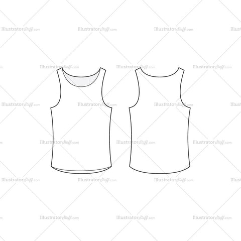 Men's Basic White Tank Top Fashion Flat Template