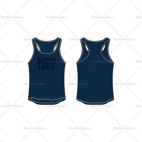 Men's Relax Fit Racer-back Tank Fashion Flat Template
