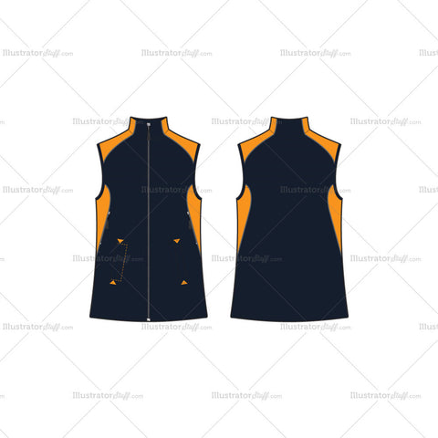 Men's Navy Blue Climbing Vest Fashion Flat Template