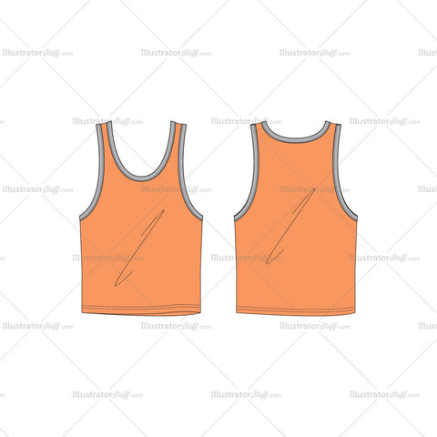 Men's Sporty Ringer Tank Fashion Flat Template