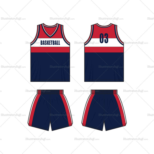 Men's Basketball Kit Vest and Shorts Fashion Flat Template