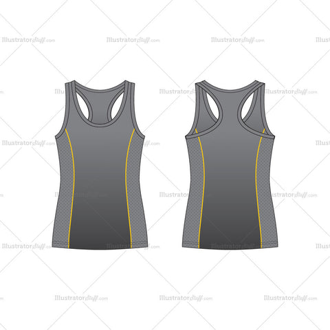 Men's Racerback Sport Tank Top Fashion Flat Template