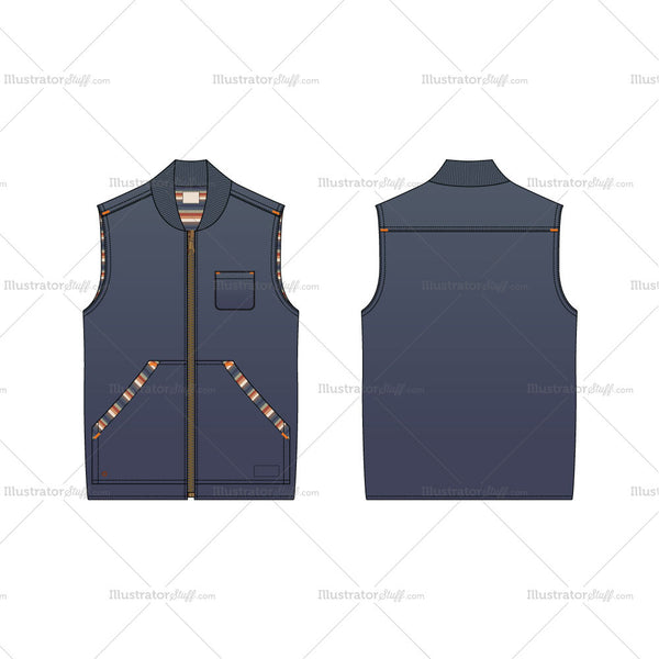 Men's Denim Vest Fashion Flat Template
