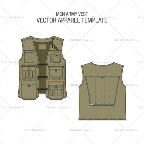 Men Army Vest Fashion Flat