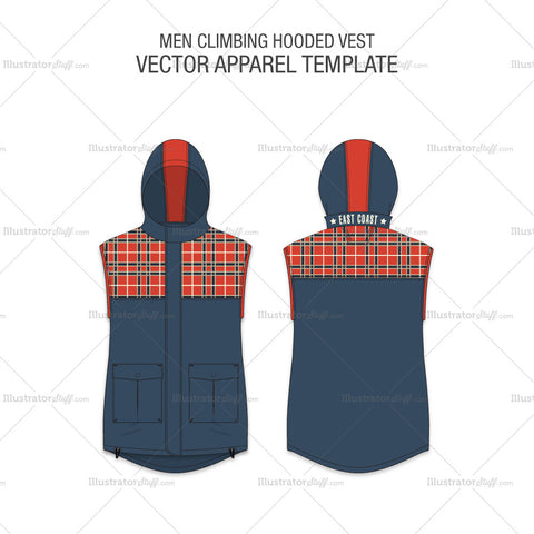 Men Hooded Vest Fashion Flat