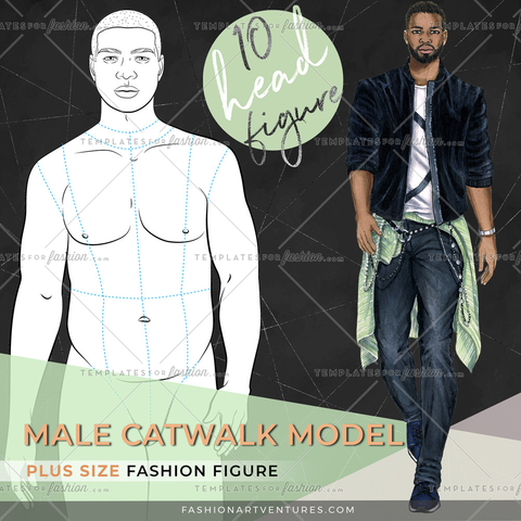 10 HEAD PLUS SIZE MALE MODEL- CATWALK POSE