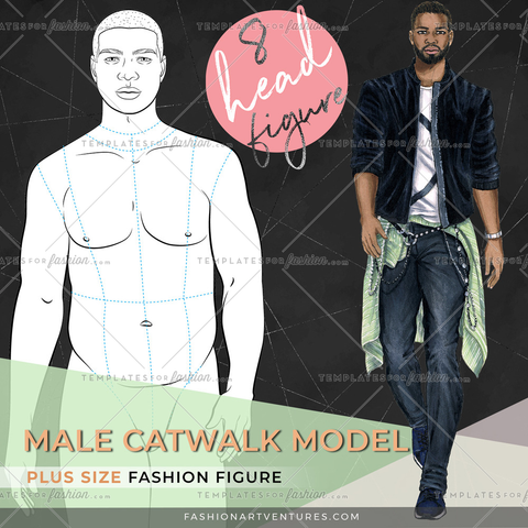 8 head Male Fashion Figure- Plus size