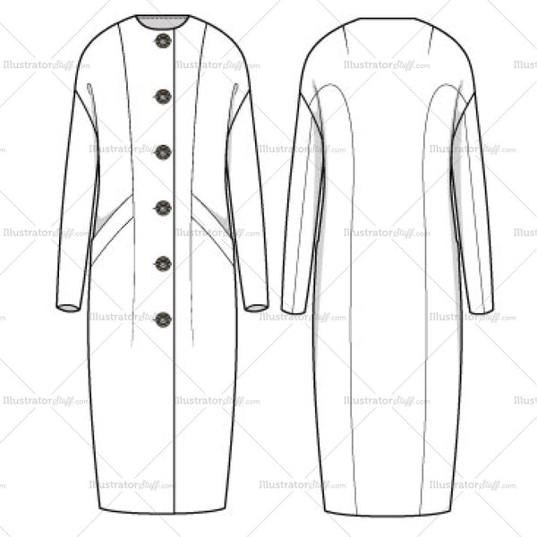 Women's Maxi Cocoon Coat Fashion Flat Template