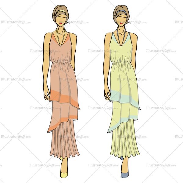 Women's Color Flowy Tier Summer Maxi Dress With Figure