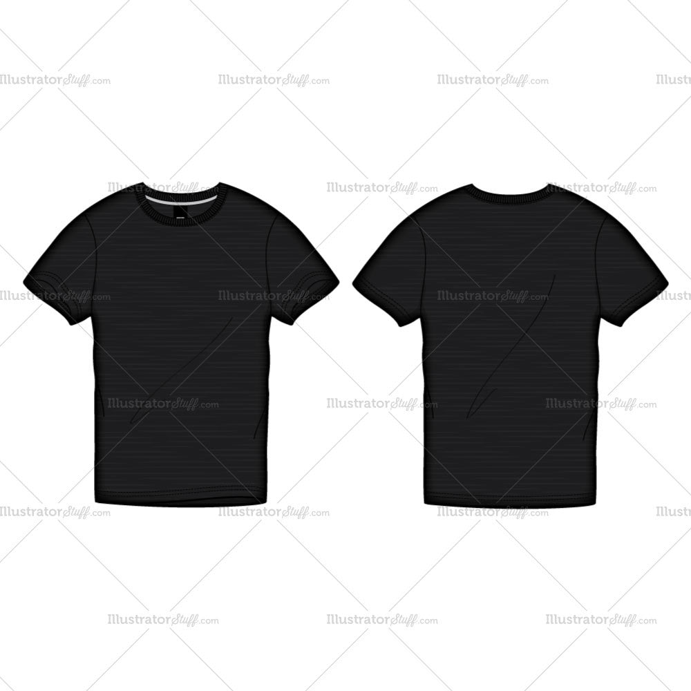 Black t shirt large - Men S Black Roundneck T Shirt Fashion Flat Template
