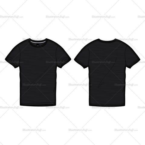 Men's Black Roundneck T-shirt Fashion Flat Template