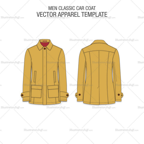 Men Car Coat Vector Template